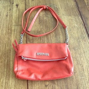 Kenneth Cole Reaction Crossbody. Coral. Leather